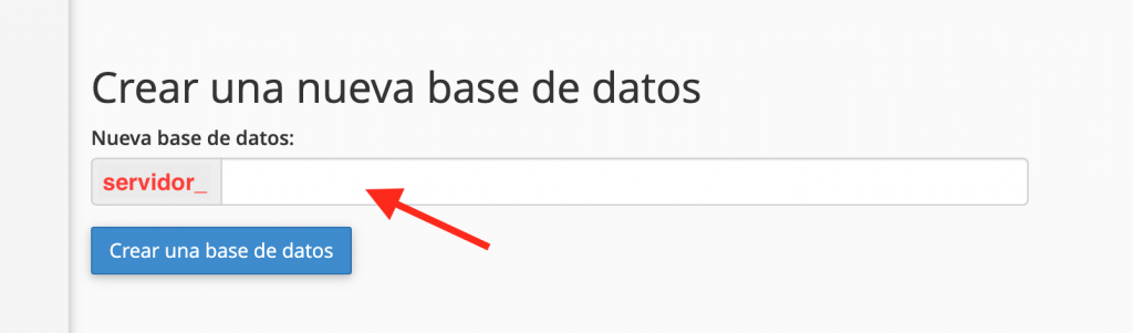 Crea una base de datos en MySQL