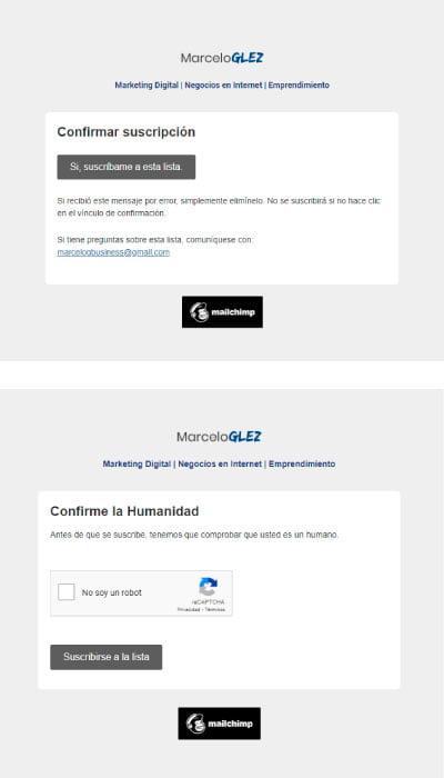 Suscripción a la newsletter de marceloglez con Mailchimp