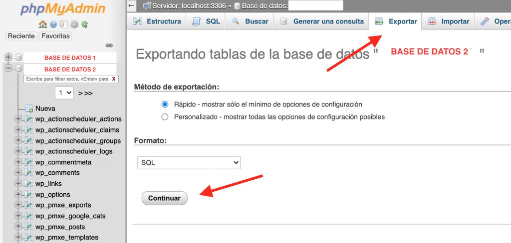 Exportar base de datos en sql