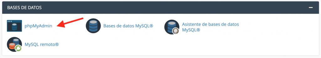 Base de datos en phpMyAdmin