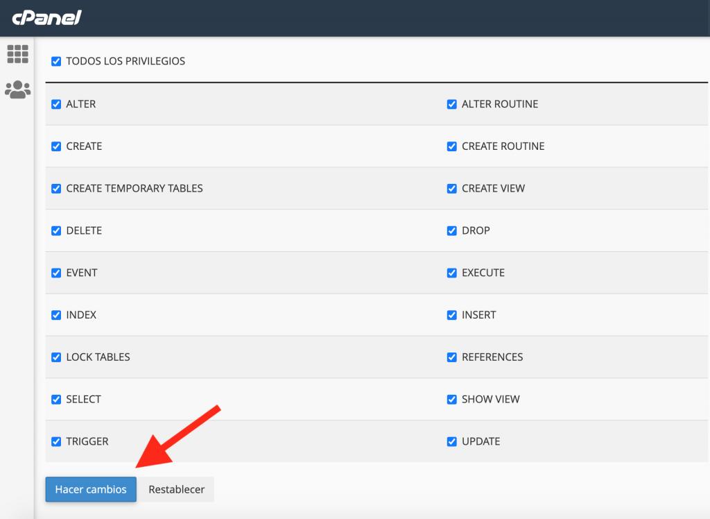 Añadir un usuario a una base de datos añadiéndole todos los privilegios